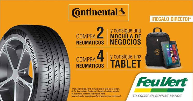 Consigue regalo directo al comprar tus neumáticos marca Continental en Feu Vert